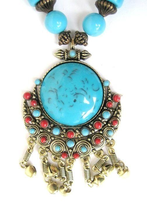 okazały naszyjnik niebieski koraliki orient boho
