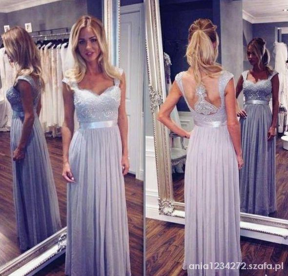 Liliowa piękna suknia