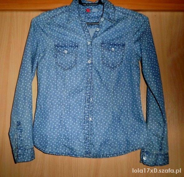 h&m koszula jeansowa w serduszka