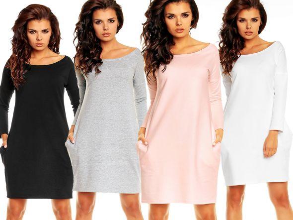 Suknie i sukienki PROSTA SUKIENKA MINI Z KIESZONKAMI