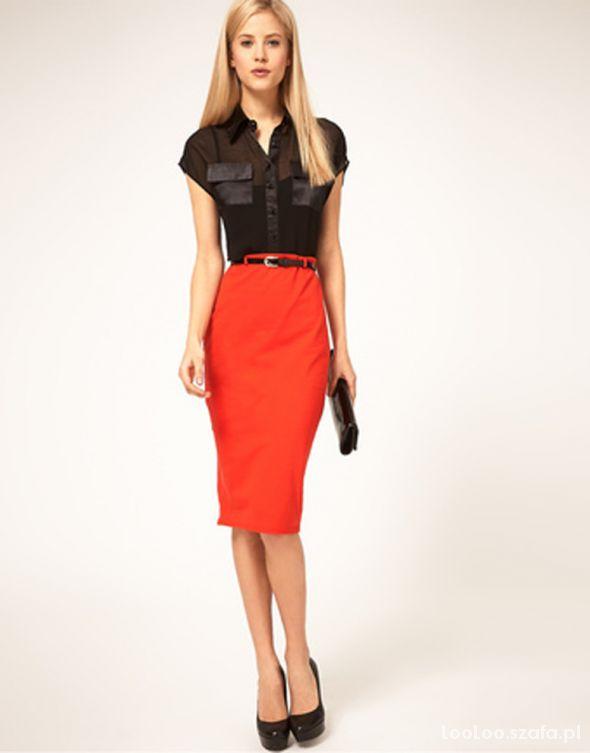 Spódnice nowa ołówkowa spódnica ORANŻOWA z paskiem