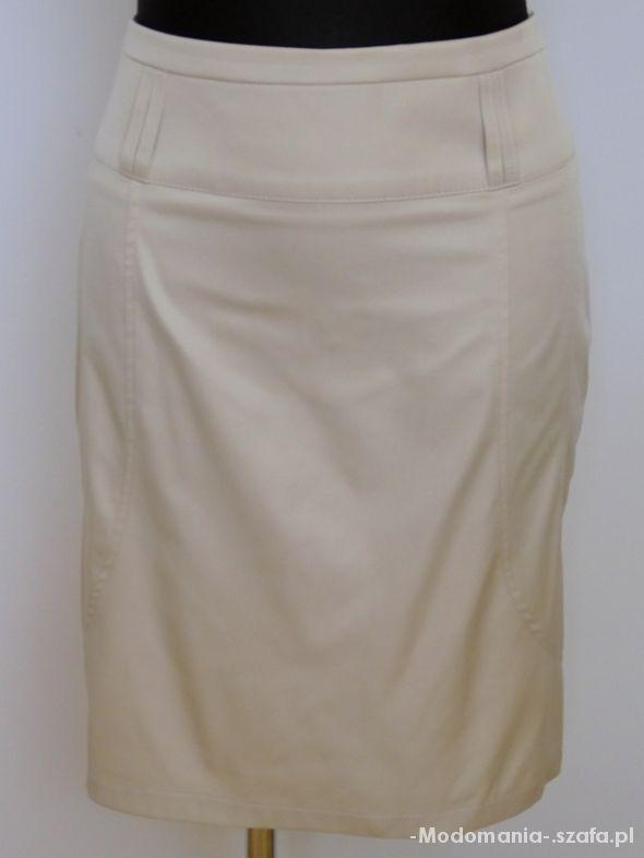 Klasyczna spódnica ołówkowa midi z szerokim paskiem ruda S171