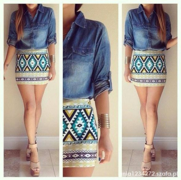 aztec print and jeans