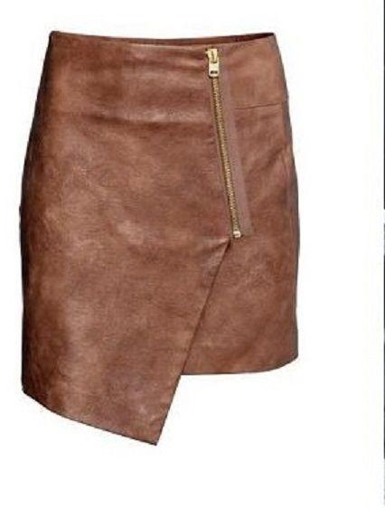Spódnice NOWA H&M skórzana asymetryczna spódniczka zara