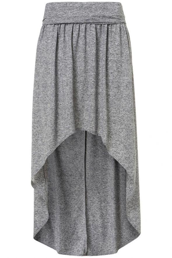 Długa Spódnica Asymetryczna Topshop Szara Siwa 36 w Spódnice