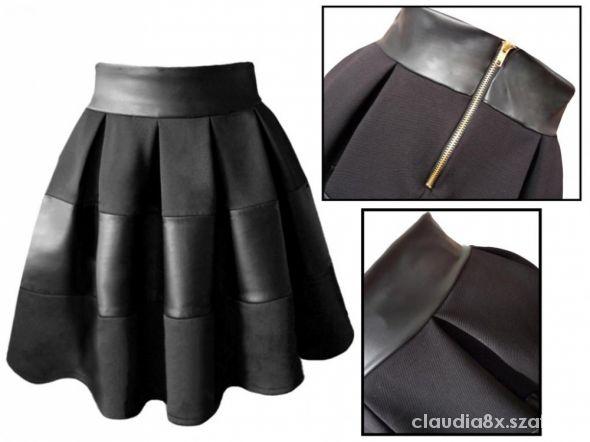 Spódnice Spódnica rozklszowana pikowana skóra zamek czarna