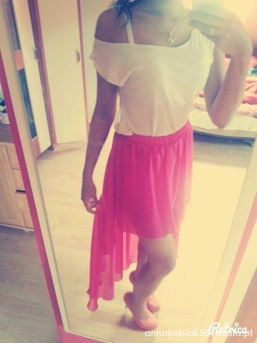 Spódnice Różowa spódnica asymetryczna
