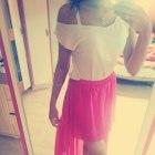 Różowa spódnica asymetryczna