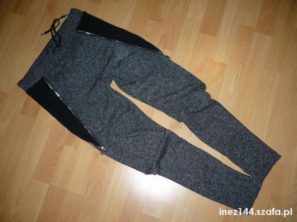 dresowe szare z zipami rurki S