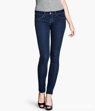 Granatowe rurki spodnie jeansy slim leg H&M