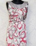 sukienka szaro różowa M