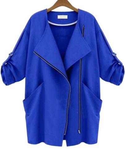 Niebieski płaszcz Sheinside