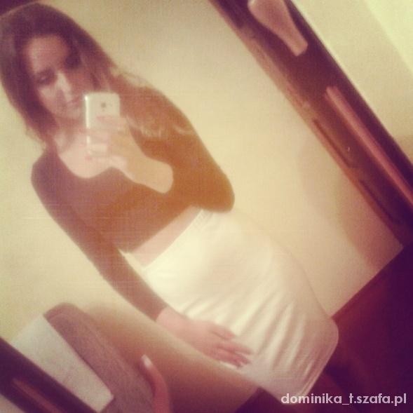Mój styl biała spódnica midi top czarny