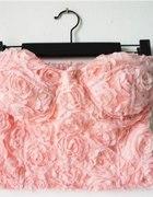 crop top bralet tłoczone róże 3d free wysyłka
