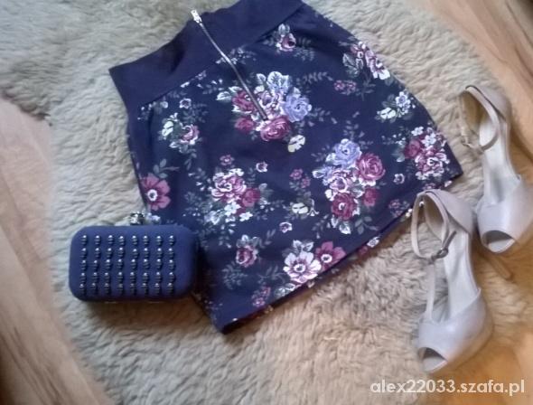 Spódnice granatowa spódniczka w kwiaty zip