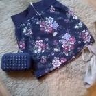 granatowa spódniczka w kwiaty zip