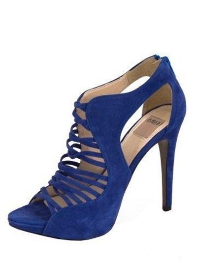 ZARA sandały szpilki kobaltowe