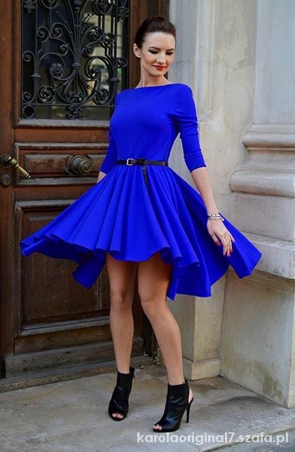 d55bdf037b07 Chabrowa niebieska sukienka rozkloszowana w Suknie i sukienki - Szafa.pl