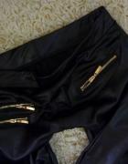 matowe skórzane czarne legginsy zip suwaki 36S 38M