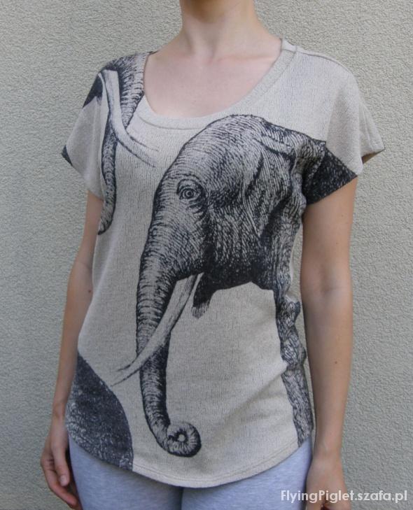bluzka z motywem safari szkic słonia