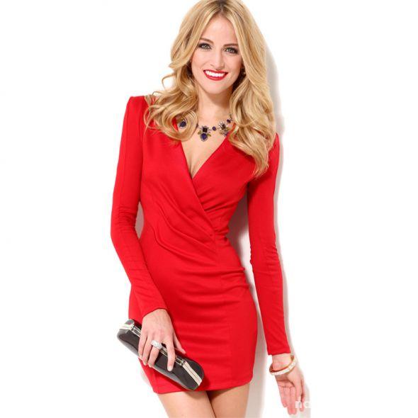 51e667b5343e Czerwona sukienka dekolt SML w Suknie i sukienki - Szafa.pl