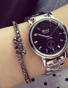 Nowy zegarek bransoleta srebrno czarny 2015