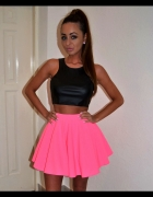 Neonowa spódnica fluo baby doll pink roż neon