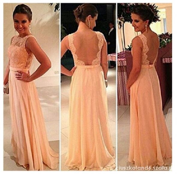 e8a88ab656 NOWA brzoskwiniowa długa sukienka koronka plecy S w Suknie i ...