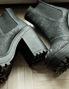 Botki black boots h&m gruby obcas poszukiwane 36
