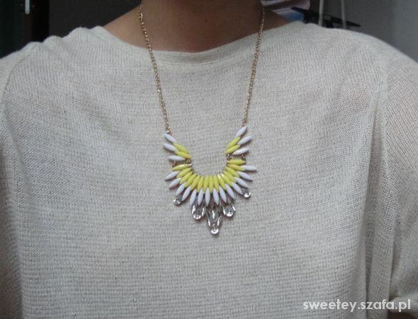 naszyjnik biało żółty łezki kryształki chain