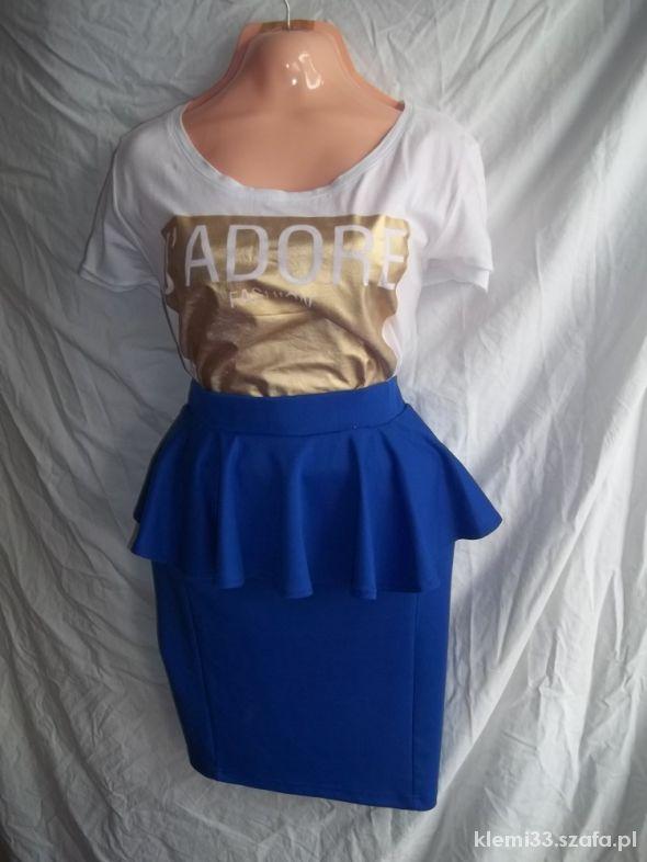 Spódnice spódnica kobaltowa z baskinką Butik