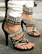 Balmain Crystal Embellished Studded Sandals