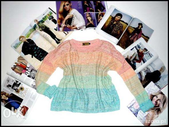 KATSUMI tęczowy sweterek z pozłacaną powłoką R L
