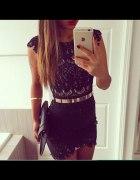 sukienka czarna koronka cudo