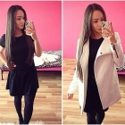 black dress and white coat