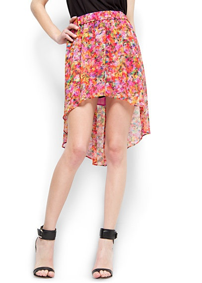 Spódnice Spódnica mgiełka floral mazy MANGO asymetryczna