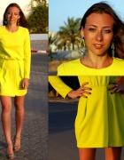 Limonkowa sukienka H&M Trend lemon poszukiwana blo