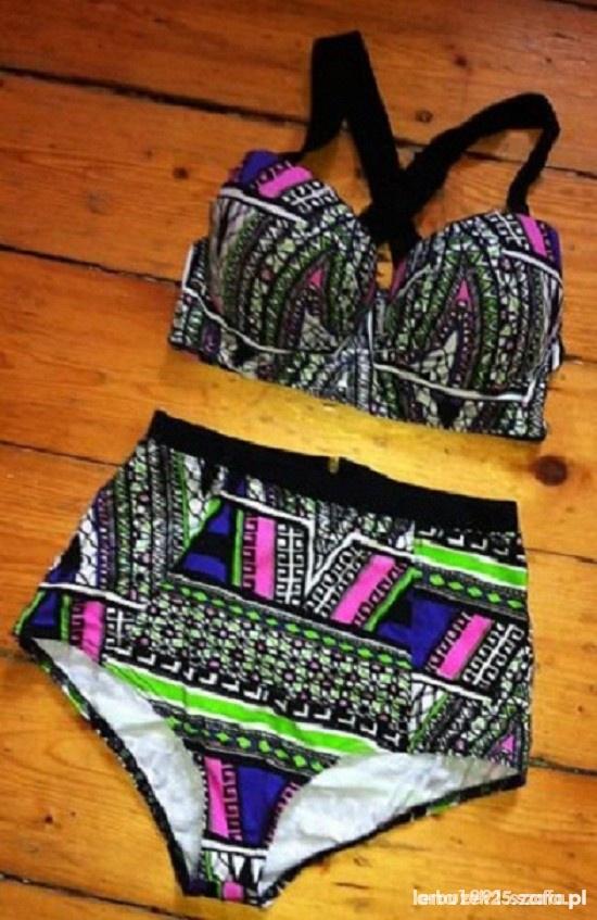 Komplet bralet szorty aztec neon River Island zip