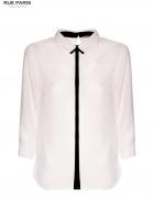Biała koszula z kontrastowym pasem i kołnierzykiem