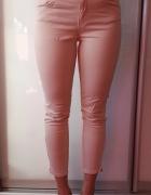 Spodnie Zara zip pudrowy kremowe róż 7 8