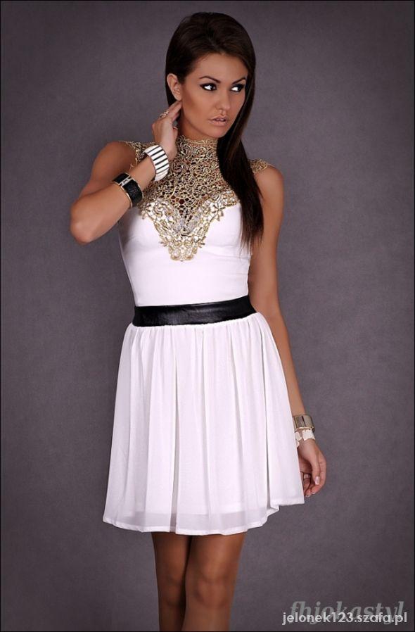 d0bccd890a Rozkloszowana sukienka biała złoty haft L 40 w Suknie i sukienki ...