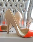 Piękne Asymetryczne Szpilki Orange Beż 36