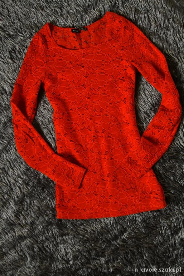 Seksi koronkowa czerwona bluzka XS 34 ATMOSPHERE w Bluzki