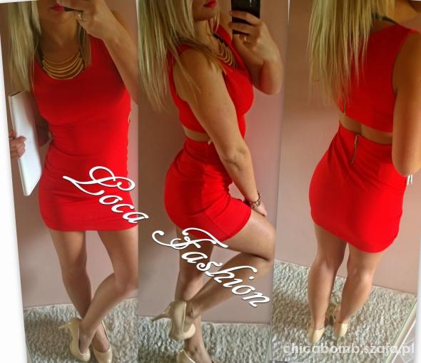 sukienka czerwona nowa wyciecia zip