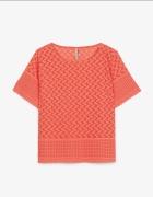 Stradivarius koralowa koronkowa bluzka geometryczn