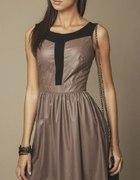 brązowa rozkloszowana sukienka