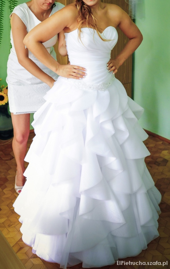 Bardzo dobra Suknia ślubna Sopra falbany princessa UROCZA w Suknie ślubne KB97