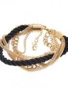 bransoletka łańcuszki czarny sznurek