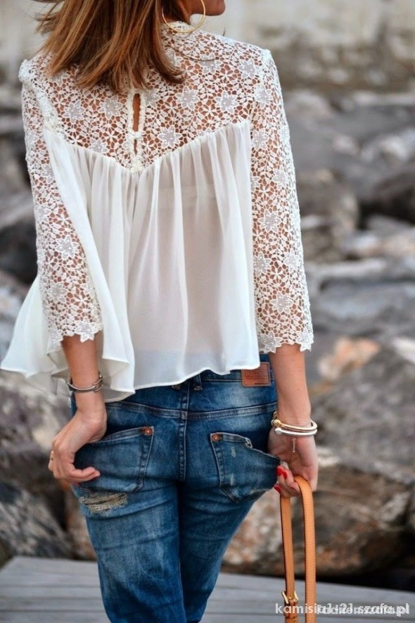 Bluzki bluzka zwiewna gipiura ZARA