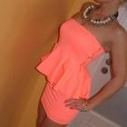 Morelowa sukienka z baskinką Zara M